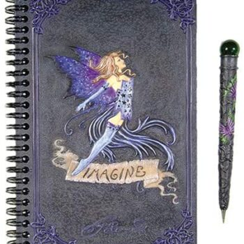 Blue Fairy Imagine Blank Book of Shadows with Pen
