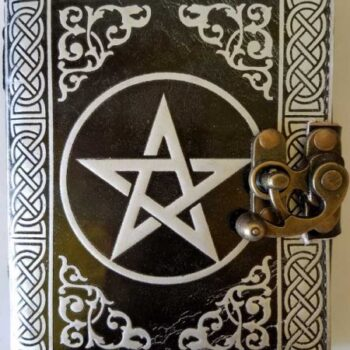 Black and Silver Pentagram Leather Blank Book of Shadows