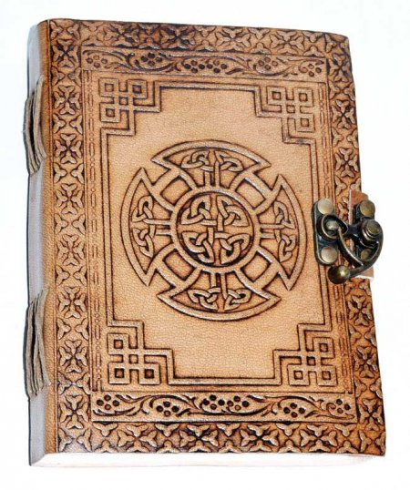 Celtic Cross Leather Blank Book of Shadows