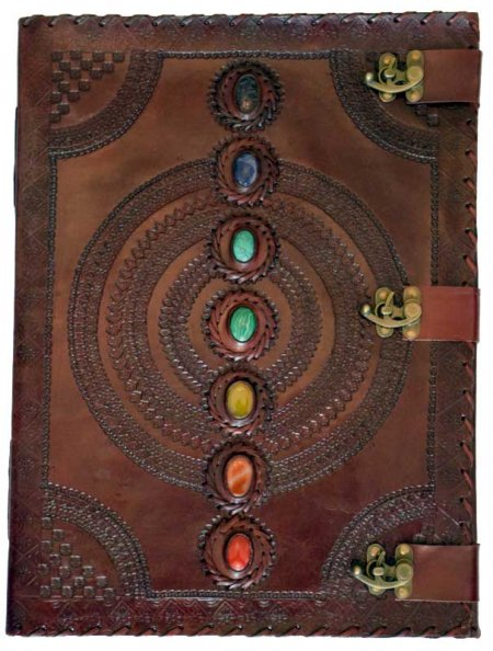 Chakra Latch Leather Blank Book of Shadows