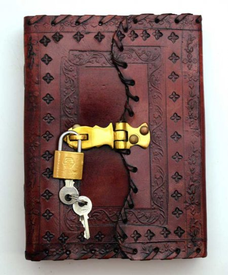 Embossed Locking Leather Blank Book of Shadows