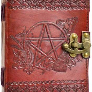 Fancy Pentagram Leather Blank Book of Shadows