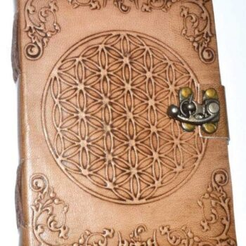 Flower of Life Leather Blank Book of Shadows