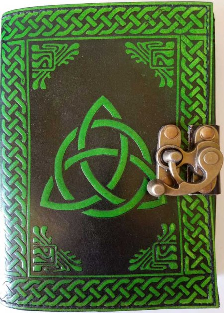 Green and Black Triquetra Leather Blank Book of Shadows