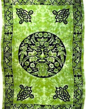 Green Man Grean and Black Tapestry