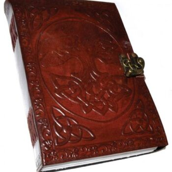 Large Celtic Tree of Life Leather Blank Book of Shadows