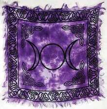 Purple Triple Moon Altar Cloth