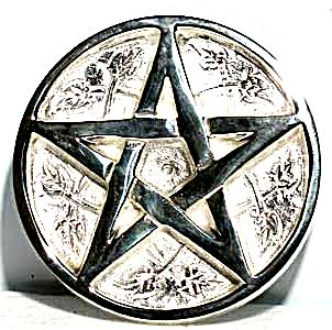 Silver Plated Brass Pentacle Altar Tile - 3""