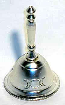 Silver plated Triple Moon Goddess Altar Bell