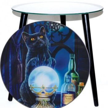Witches Apprentice Glass Altar Table with Black Cat