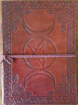 Triple Moon Leather Blank Book of Shadows